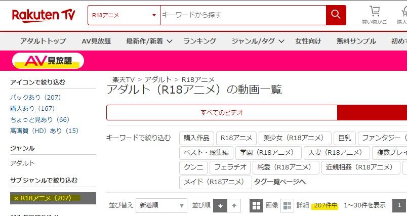楽天TVAV見放題のアニメ本数